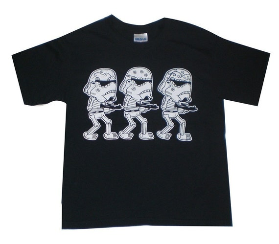 Storm Trooper Calaveras Youth T-Shirt XS, Small, Medium, Large in Black