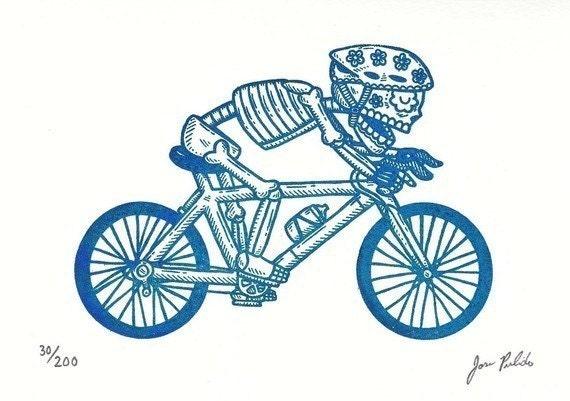 El Bicyclist Gocco Serigraph Artist Proof