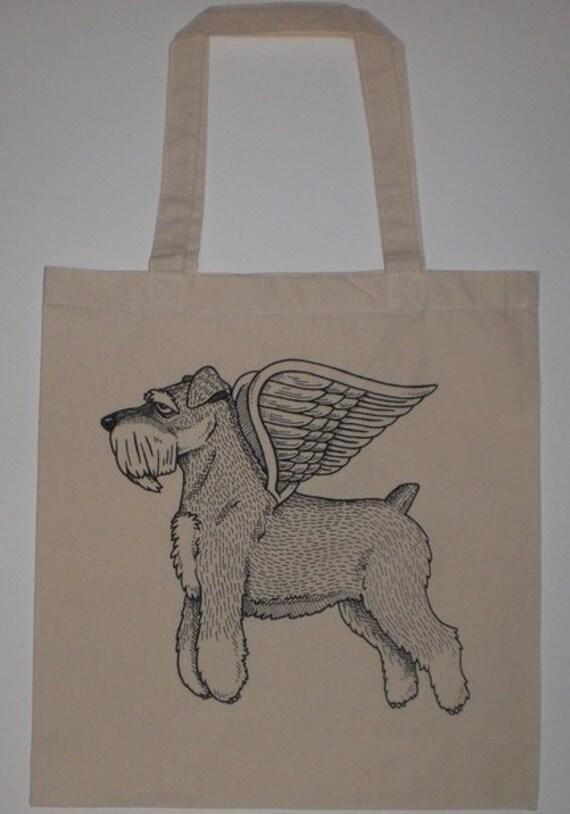 Flying Schnauzer Canvas Shopping Tote Bag