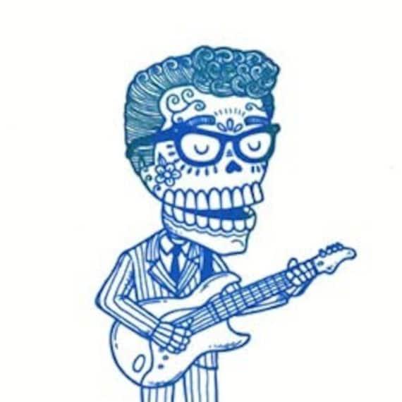 Buddy Holly Calavera Gocco Serigraph Artist Proof