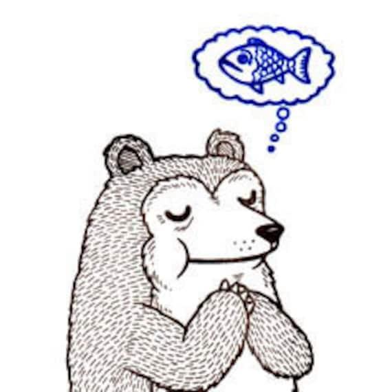 Praying Bear Limited Edition Gocco Screenprint