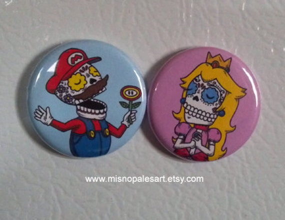 Calavera Mario and Princess Pinback Button Set