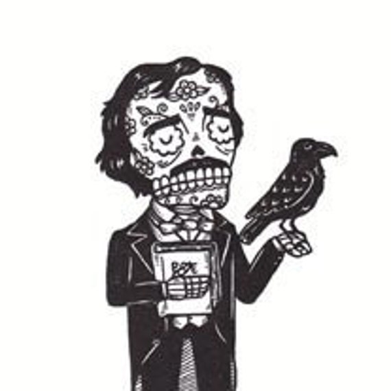 Day of the Dead Edgar Allan Poe Calavera Limited Edition Gocco Screenprint