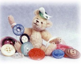 HALF PRICE - Button Betty Miniature Teddy Bear Kit - Pattern - by Emily Farmer