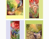 HUMMINGBIRDS - Note or Greeting Bird CARDS-Colorful Flower Collection 4- 8 Cards and Envelopes