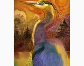 Gold Moon and Great Blue Heron- 8 x 10 Print Bird Watercolor Painting