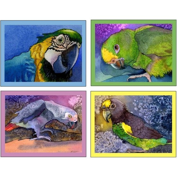 Parrots Bright and Beautiful -8 Notecards and envelopes- 2 of each design