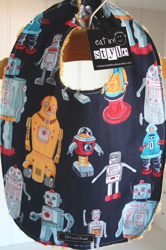 Baby Bib...retro robots