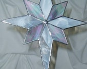 Stained Glass WHITE Christmas Star Tree Topper 9 x 8