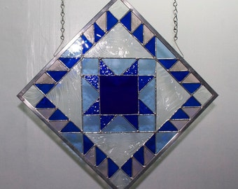 Quilt Block in Stained Glass, Quilting, Quilter Window Panel, Ohio Star