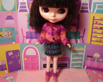Blythe Wool Sweater and Socks Set  Fuchsia and Coral