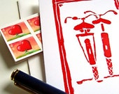 Biking Together Red Lino Cut Bicycle Cards - Set of 3