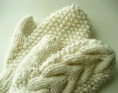 WHITE  Cable Mittens like Bella's in Twilight
