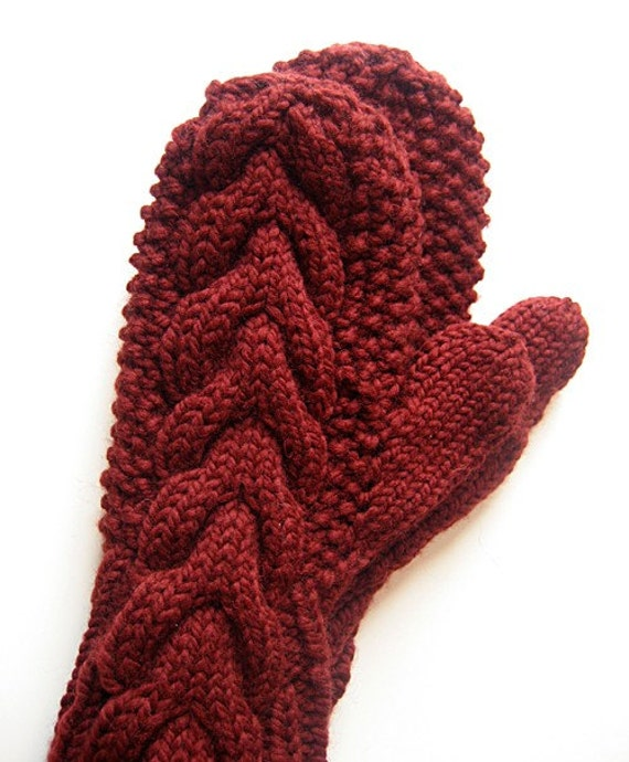 Knitting Pattern For Bella Mittens : Cable Mittens like Bellas in Twilight Blood RED