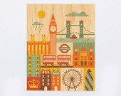 UNFRAMED 8x10 London City Print on Wood