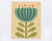 UNFRAMED 8x10 Blue Flower Print on Wood