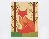UNFRAMED 11x14 Fox Baby Print on Wood