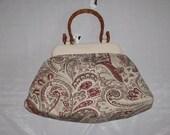 Handle Bag on Beige with Paisley