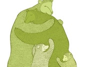 Bear Hug (Green) LARGE print Wall art