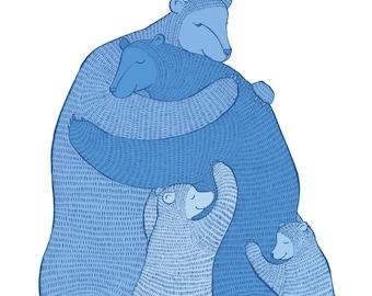 Bear Hug - Blue print - Wall art