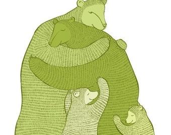 Bear Hug (Green) LARGE print Wall art