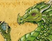 ACEO ATC Poster Photo Print Green Dragon Print Original Fantasy Art by Nina Bolen