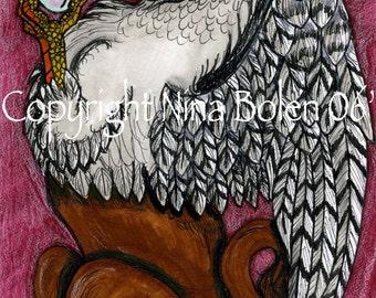 OOAK Print Griffin Gryphon with Crystal Original Fantasy Art by Nina Bolen