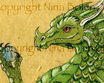 ACEO ATC Poster Photo Print Green Dragon Print Original Fantasy Art by Nina Bolen