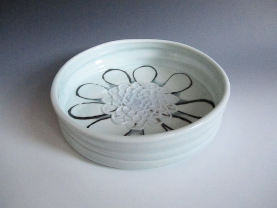 Handmade Decorative Dish with Flower Design- summertime- gift idea- decor