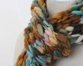 Scarf / Copper Aqua Turquoise / Hand Knit / Verdigris
