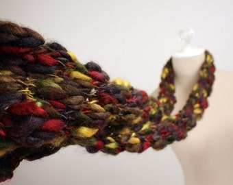 Hand Knit Scarf / Black Red Gold Charcoal Burgundy / Merino Wool Silk Handmade Textured
