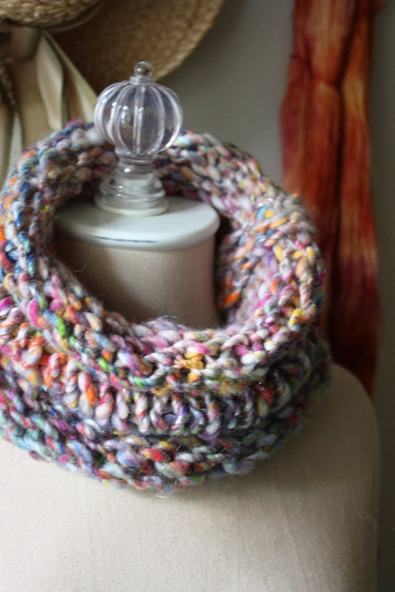 NEW Hand Knit Cowl / Spring Flowers