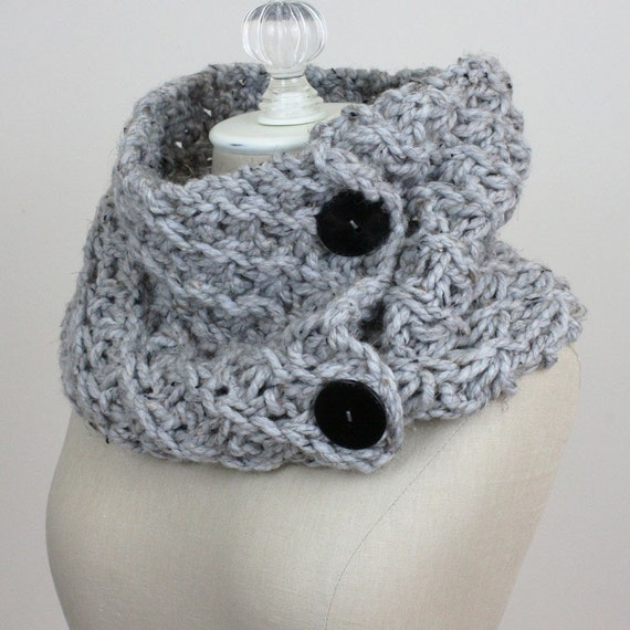 Hand Knit Grey Gray Chunky Cowl Shoulder Warmer / Oversized Textured Knit Scarf