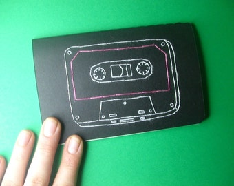 embroidered mix tape pocket journal