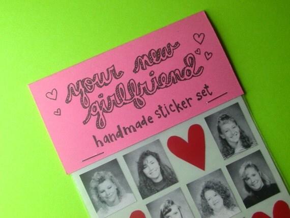 your new girlfriend handmade sticker set
