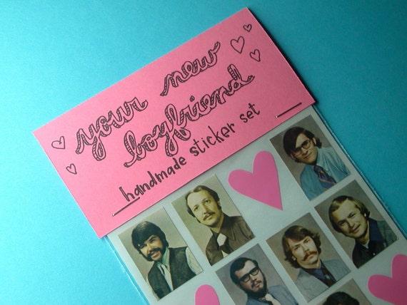 your new boyfriend handmade sticker set  IN COLOR