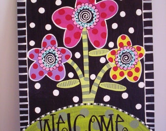 wHIMsical and Funky...Bright canvas WELCOME Sign