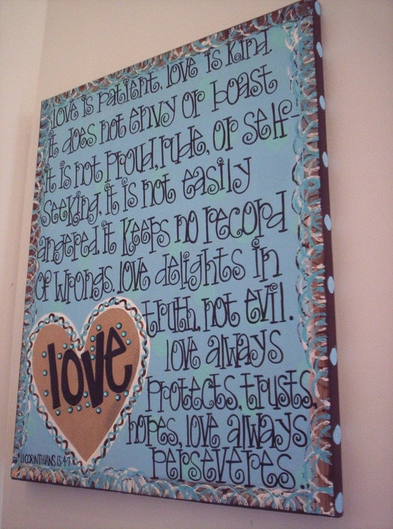 Love Is Patient Whimsical And Fun Hand Painted Canvas Wall