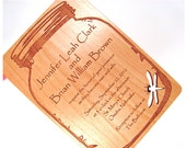 Wooden Wedding Invitation - Real Wood Invitation - Mason Jar with Dragonfly Cutout