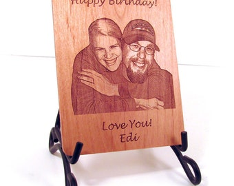 Personalized Real Wood Photo Greeting Card - Customized with your Photo and Special Message