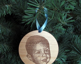 Baby's First Christmas Photo Ornament - Laser Cut Wood