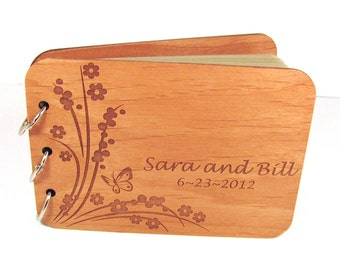Engraved Butterfly and Flower Wood Guest Book and/or Photo Album
