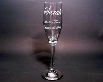 Personalized Bridal Party Champagne Flutes - SET OF 6