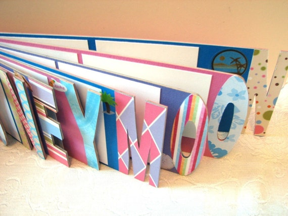 Custom Name or Word Photo Album Scrapbook Handmade - Up to 6 Letters