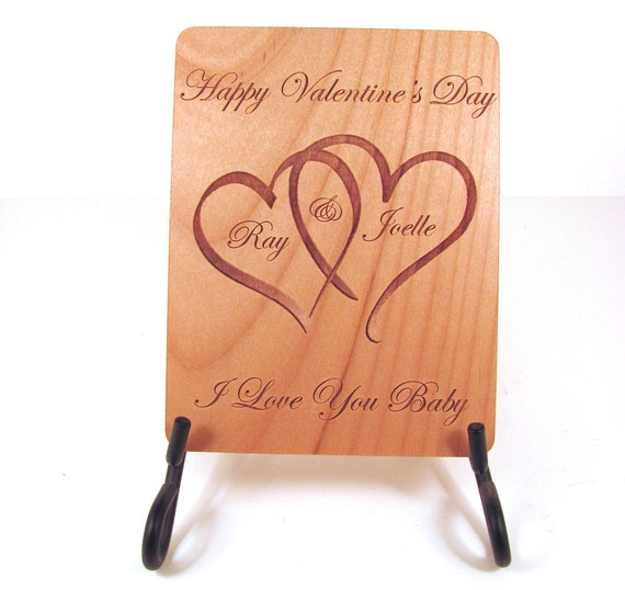 Personalized Wooden Valentines Day Card Real Wood