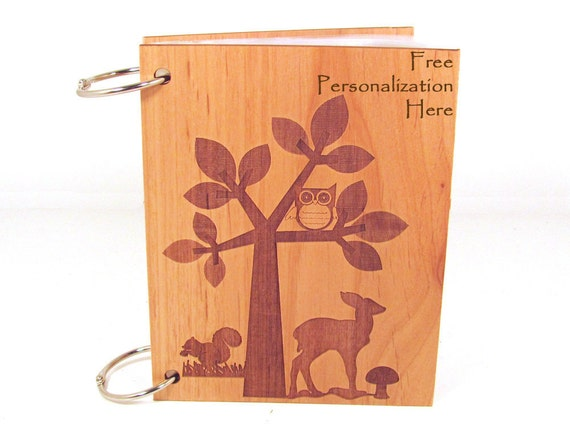 Woodland Baby Album Baby Book - Personalized Engraved Wood Cover