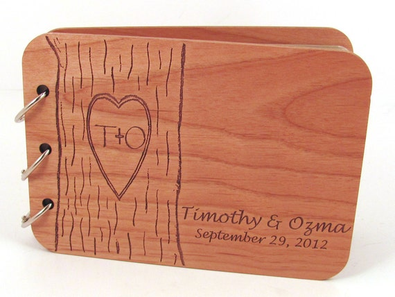 Wedding Guest Book - Carved Tree Design on Real Wood