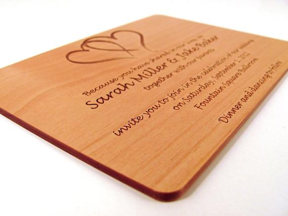 einladung zur hölzernen hochzeit echtholz einladung, Einladung