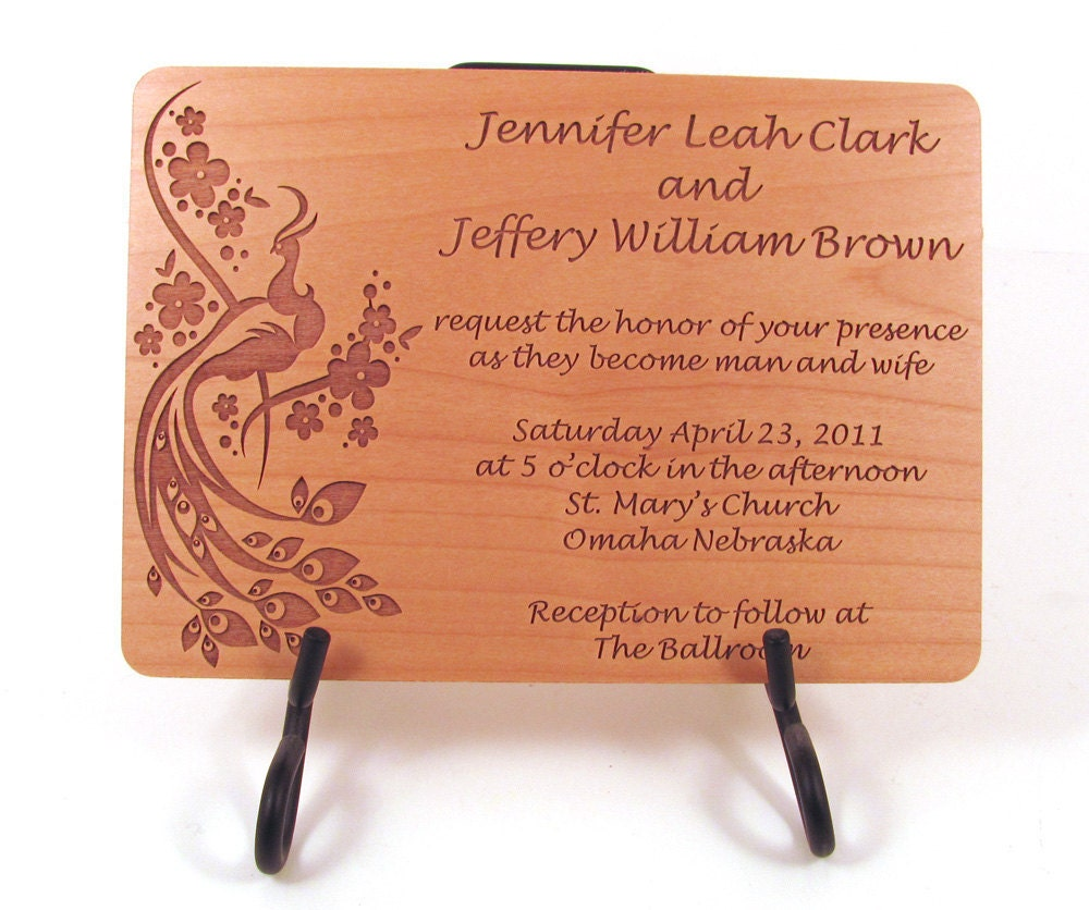 Engraved Wooden Wedding Invitation Real Wood Invitation
