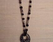 Obsidian, Feldspar, and Moonstone Necklace